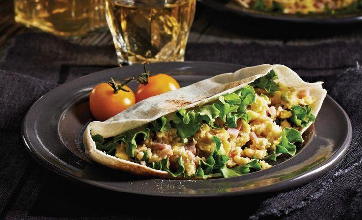 ham brie and egg pitas