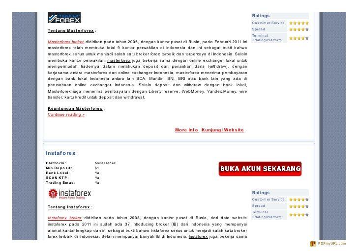 5 Broker Forex Lokal Indonesia dengan Syarat Deposit Rendah