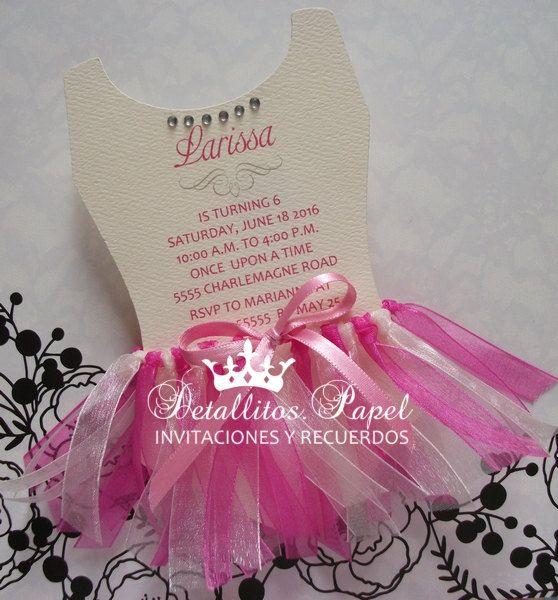 Ballerina Invitation, Quinceanera Invitation, Ballet Invitations, Dress Ballet Invitation, Sweet 16 Invitation, Dress tulle Invitation