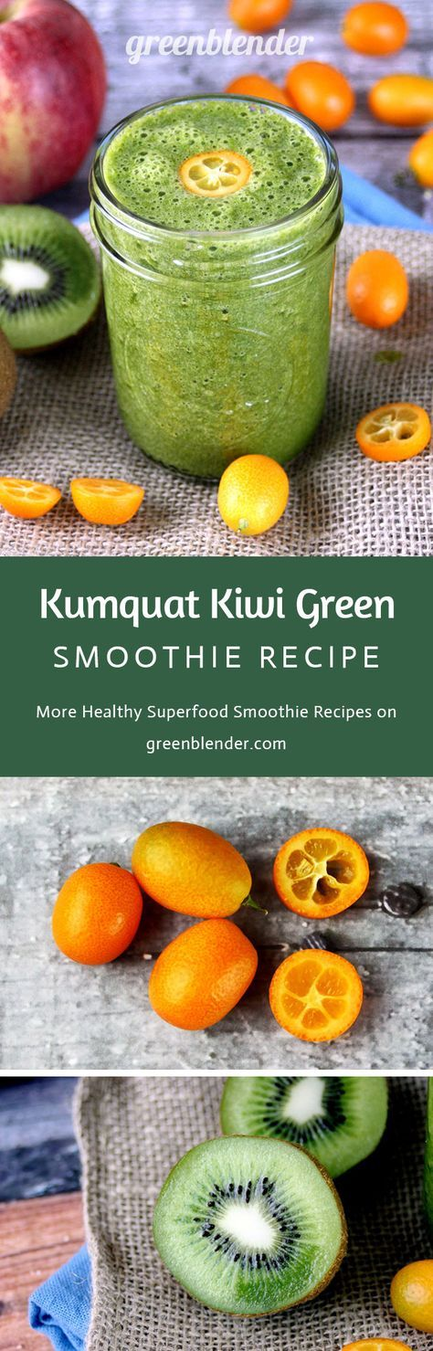 Kumquat Kiwi Green Smoothie Recipe by Green Blender: Kumquats are a small tart citrus fruit native to south Asia and the Asia Pacific region. The rind of these olive-sized fruits can be eaten. Kumquats are a source of calcium, antioxidants, and fiber. They aid digestive health and have a tart, floral flavor. Tiny, mighty kiwis contain more vitamin C than an orange, and combine with kumquats, flaxseed, apple, and swiss chard for a cold-fighting powerhouse of a smoothie.