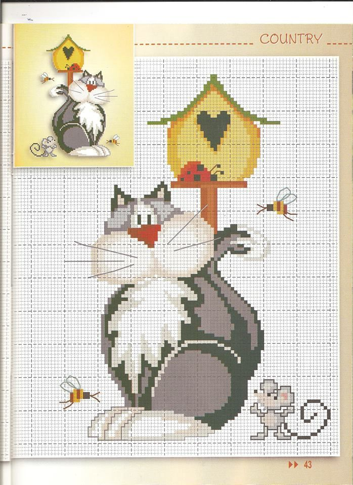 <3 Cross-stitch Country Kitty ... no color chart available, just use the pattern chart as your color guide.. or choose your own colors...