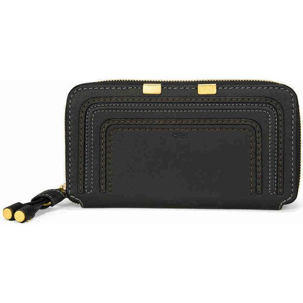 Chloe Marcie Zip Around Leather Wallet - Black ($379) ❤ liked on Polyvore featuring bags, wallets, chloe wallet, leather bags, genuine leather bags, leather wallets and genuine leather wallet