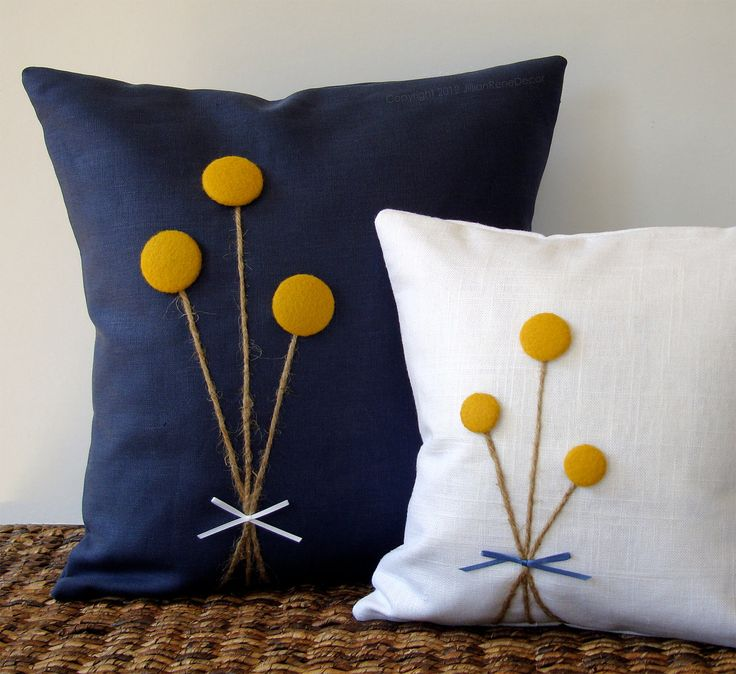 Yellow Billy Ball Flower Pillow in White Linen by JillianReneDecor Billy Button Bouquet Botanical Home Decor. $51.00, via Etsy.