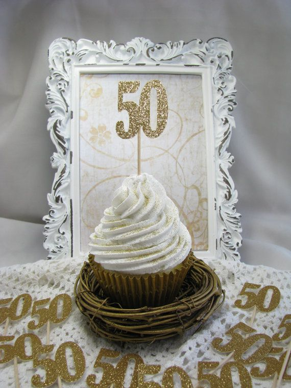 Glitter 50th cupcake toppers are handmade with thick quality glittered cardstock. You will receive 15 cupcake toppers. Please choose your choice of glitter cardstock from the drop down box upon ordering  Measurements: 50: 1 5/8 x 1.75 Overall Length: 3.25  Please see MATCHING cake topper in my shop: https://www.etsy.com/listing/238970089/50-birthday-cake-topper-party-favors?ref=shop_home_active_4  All paper crafting items are acid free and are handmade in a ...