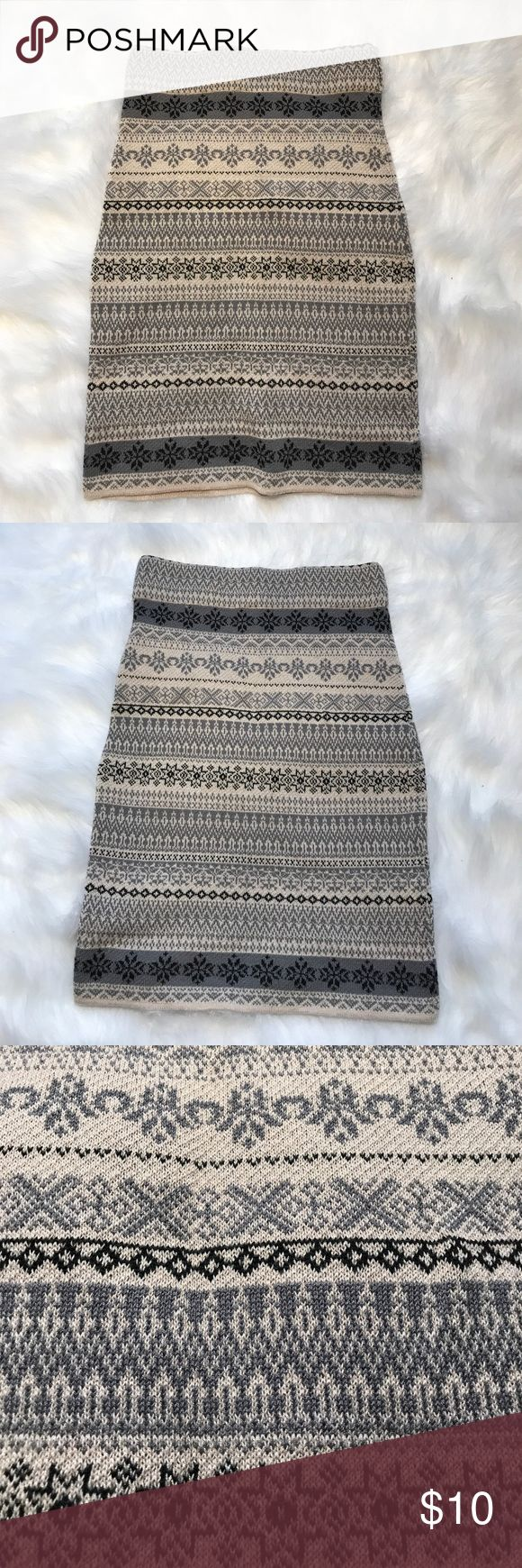 Tribal skirt Never worn, tribal skirt. Material is thick almost like a sweater, and is stretchy, perfect for any season! Poof Couture Skirts Mini