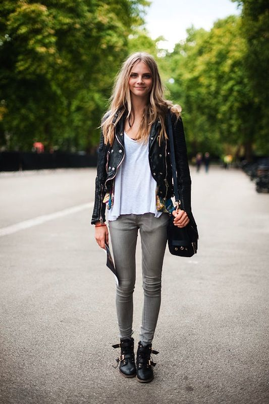 I'm diggin' the skinny jeans + combat boots + leather jacket. I call it pretty grunge.