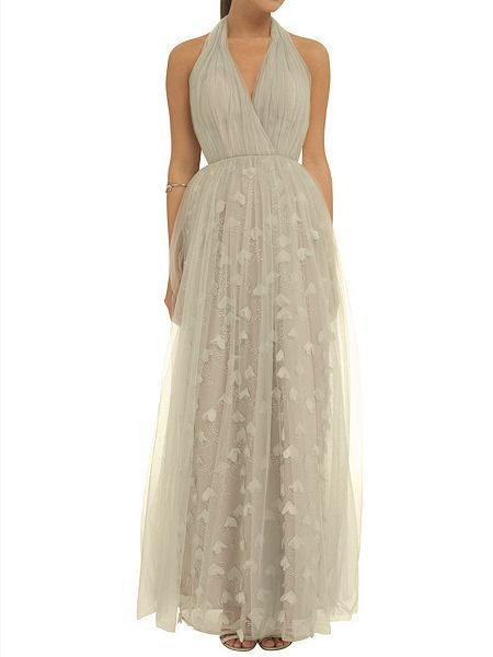 3D petal halter neck maxi dress