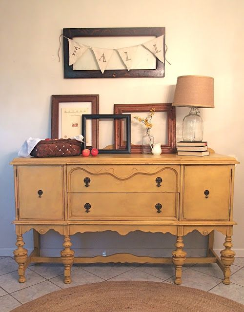 Shades of Blue Interiors: A Mustard Antique Buffet: Arles chalk paint