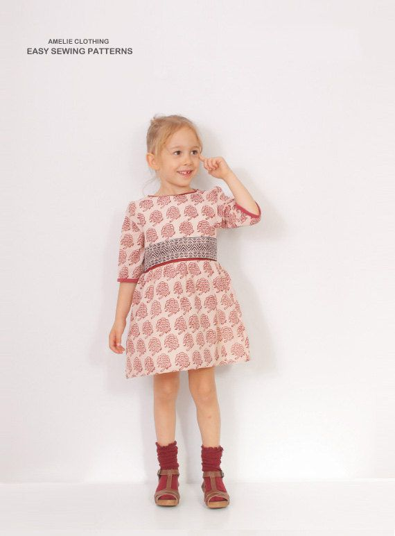 Amelie Clothing - Victoria Bubble DRESS pattern pdf - toddler dress patterns - from 2 to 7 years