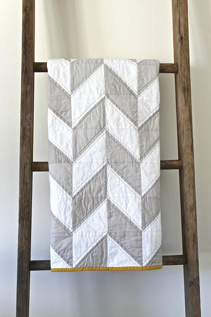 Grey And White Herringbone Quilt With Mustard Trim