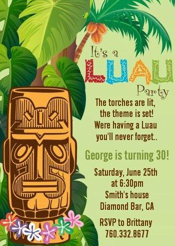 Luau Tiki - Birthday Party Invitations