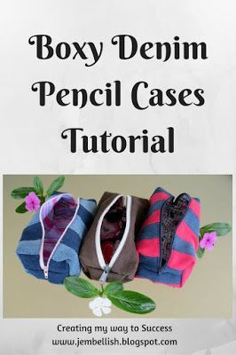 FREE sewing tutorial for these cute Boxy Denim Pencil Cases. This is a great scrapbuster.