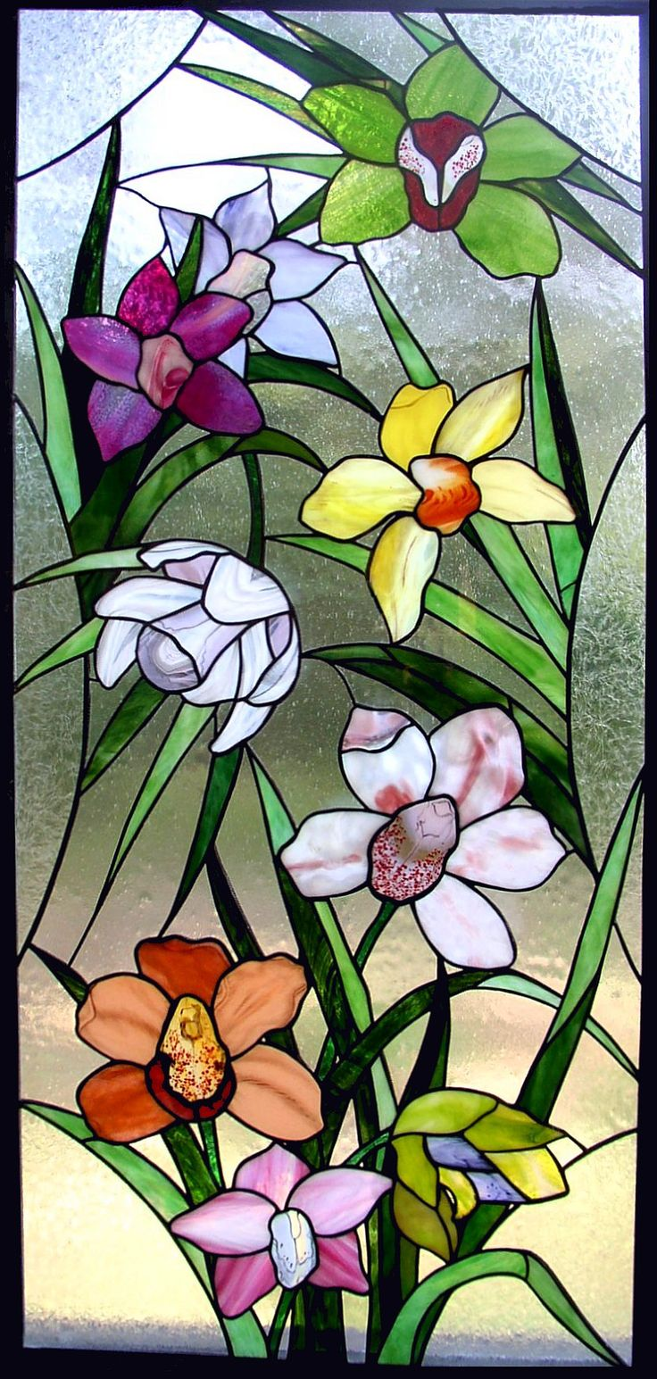 Inspirational use of glass - look at each flower! Amazing. Orchids - Kelley Studios