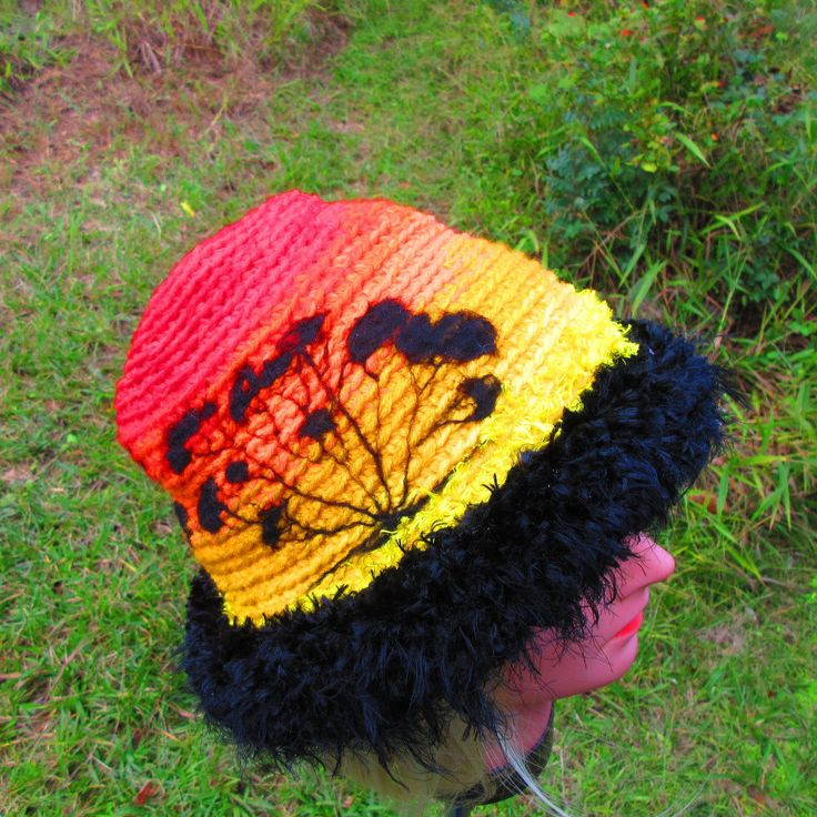 Thermal Sunset Silhouette Beanie Hat Winter Weight by ArtNomadixMeggaYarnz on Etsy