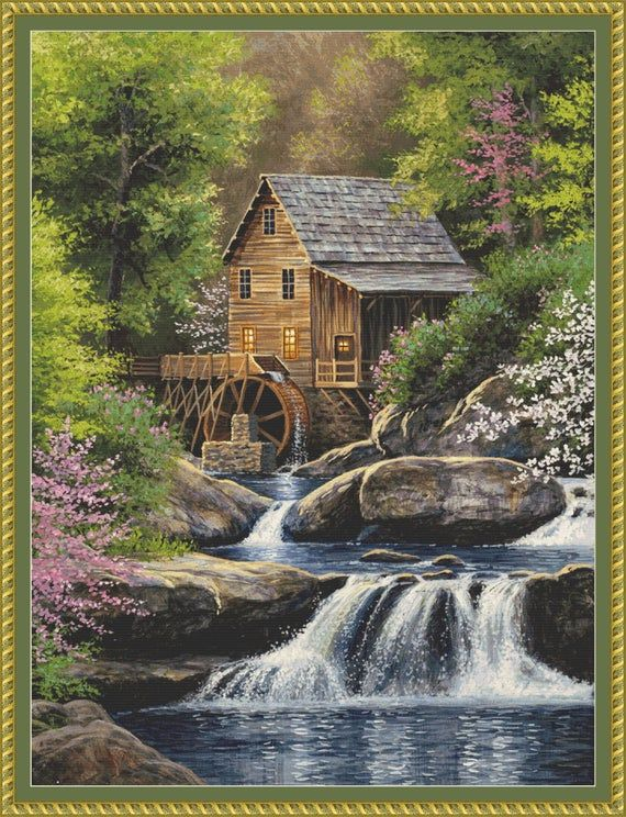 The Glade Creek Grist Mill In West Virginias Scenic Babcock State Park Is Beautifully Depicted In This Instant Digital Download Full Coverage Paisagens Artistas