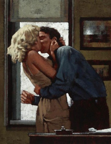 """""""Wisdom of the World"""" - John Meyer, 2010, mixed media on canvas (detail) {figurative art female blond woman kissing painting} Passionate!!"""