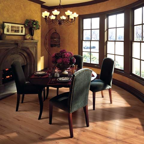 Create A Warm, Classy Dining Room By Adding Darker Décor Like This Deep Red  Floral Centerpiece And A Light Floor Like This Medlin Oak Laminate Floor.