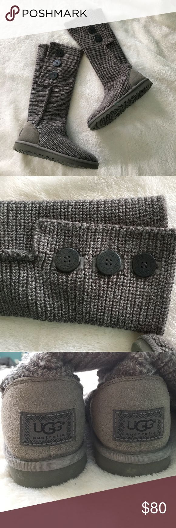 Gray UGG classic cardy boot Knit boots with 3 buttons.  Only worn once or twice. Small brown discoloration on top of right boot as shown in the last photo UGG Shoes Winter & Rain Boots