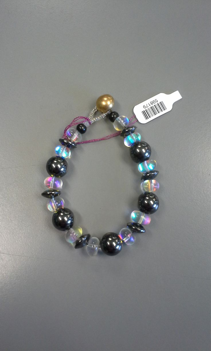 Brass bead, glass beads and hematite - bracelet by Lil Siltanen