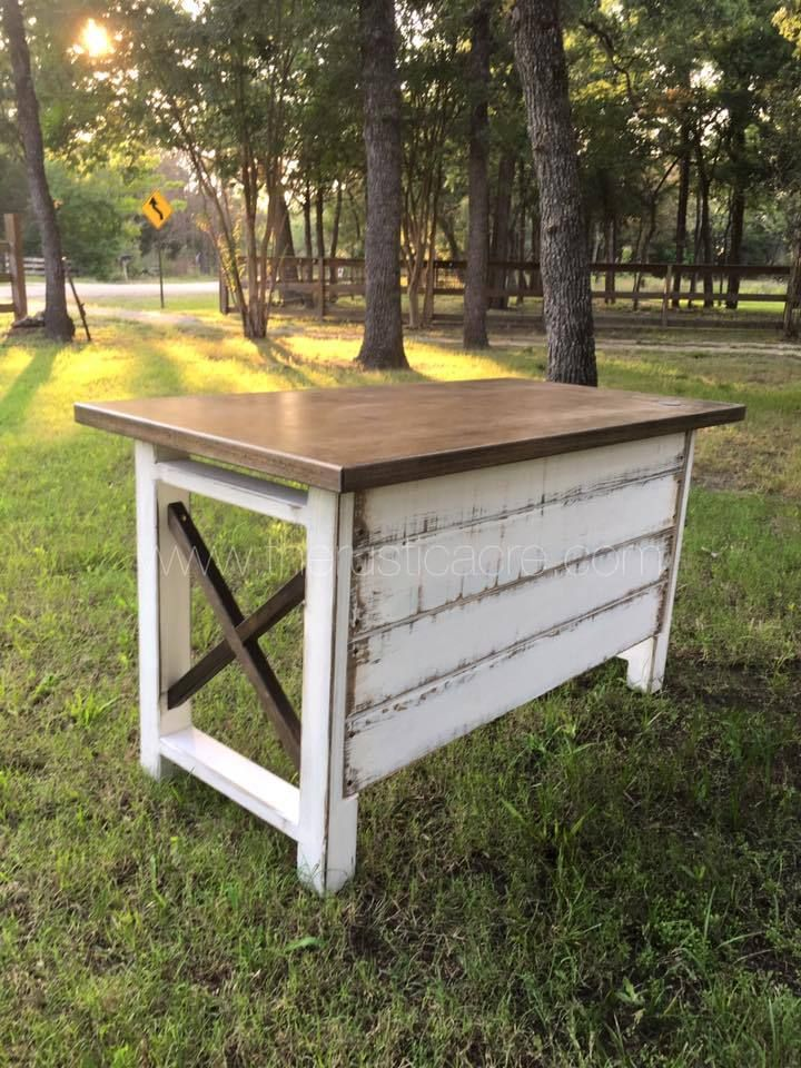 The Rustic Acre custom built farmhouse style desk, with white distressed details and shiplap front. Built in College Station, TX - LOVE, LOVE this desk!!