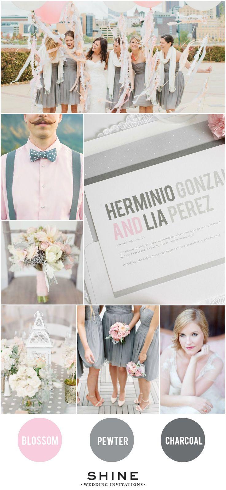 Blush and Gray Polka Dot Wedding Inspiration from Shine Wedding Invitations