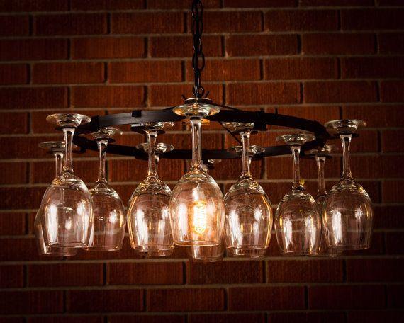 Wine glass Chandelier Wine Rack Light Lighting Wine Decor chain style