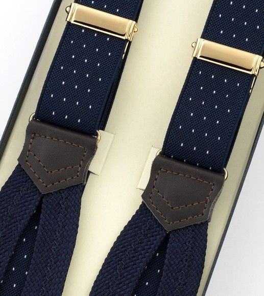 Narrow Navy and white polkadot Braces - Drakes London