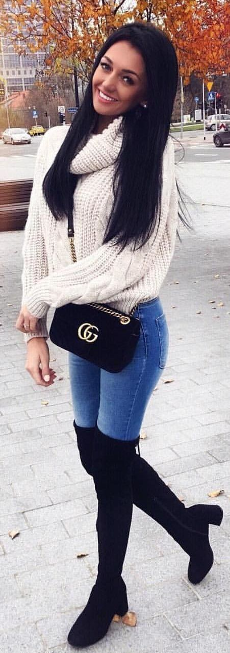 #winter #outfits white turtle-neck sweater with blue denim washed jeans