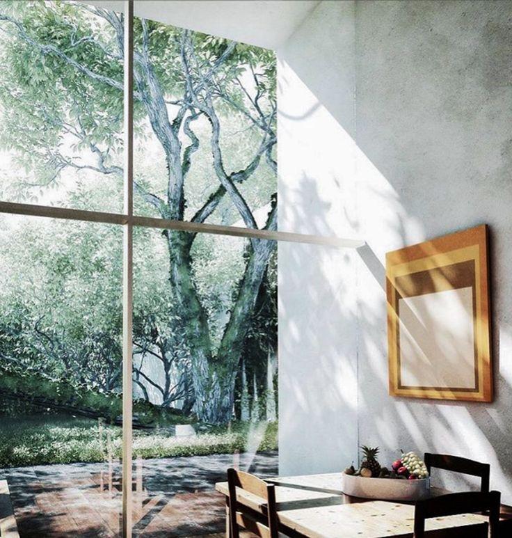 Window frame and breakfast nook.