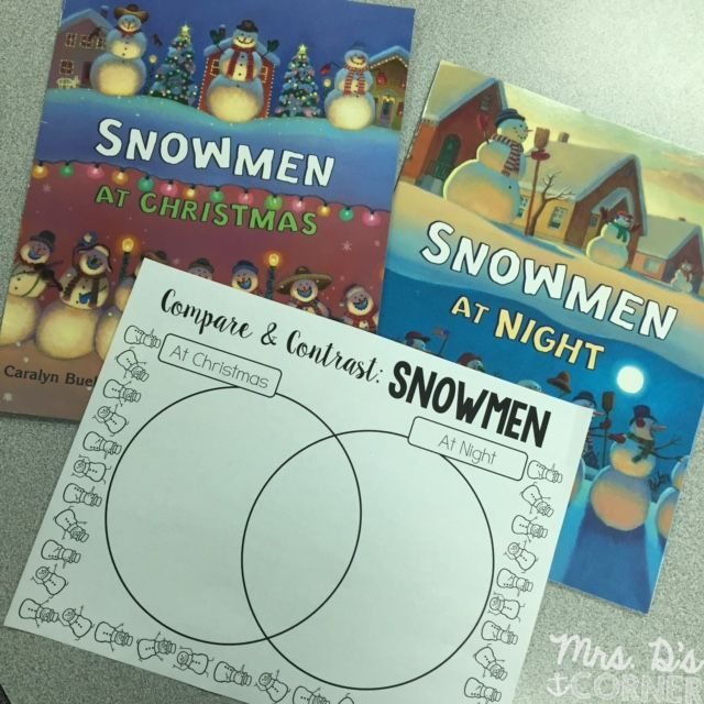 Compare and Contrast FREEBIE for Snowmen at Christmas and Snowmen at Night.