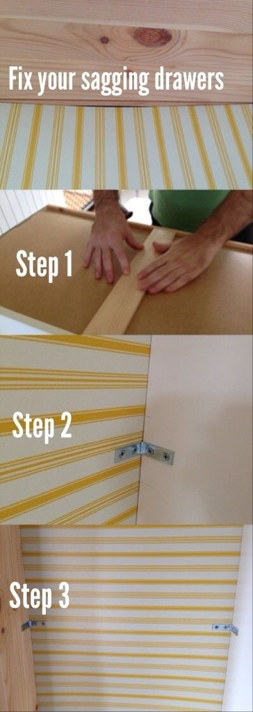 How to fix drawers that sag - excellent step-by-step for anyone with drawers that are all sagging. #diy