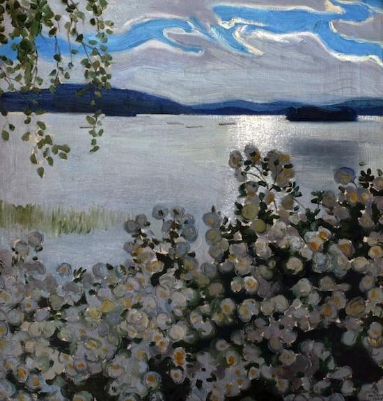 Roses blanches, huile sur toile de Akseli Gallen Kallela (1865-1931, Finland)