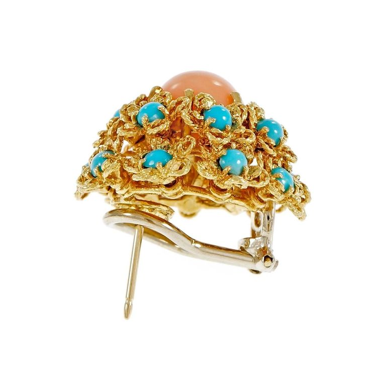 Coral Turquoise Dome Button Cluster Gold Earrings  | From a unique collection of vintage more earrings at https://www.1stdibs.com/jewelry/earrings/more-earrings/