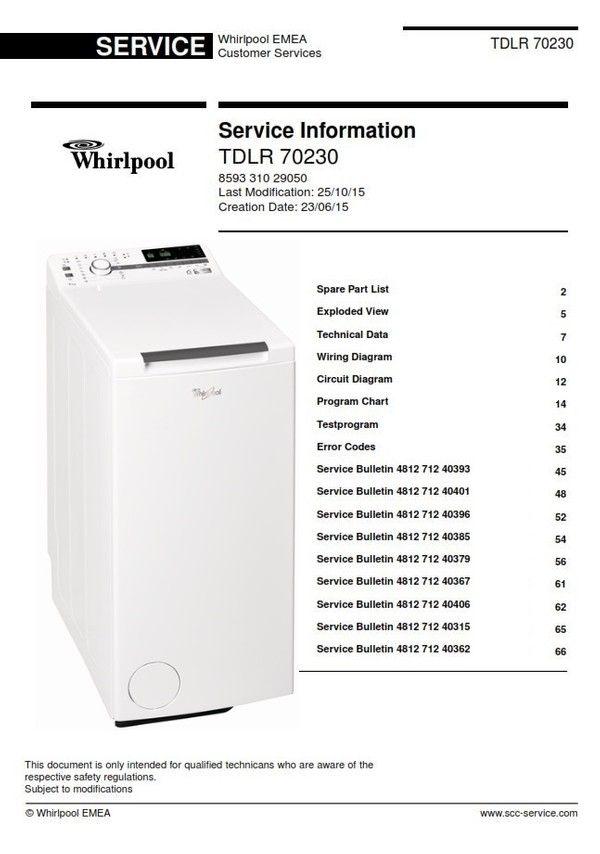 Whirlpool Tdlr 70230 Washing Machine Service Manual Washing Machine Service Machine Service Top Washing Machine