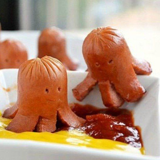 Hot Dog Octopus: Here's an easy idea that your kids will absolutely love! Cut your dog in half, then make six slits in the bottom half. Then cook. Cut out two tiny eyes with a bamboo skewer. If you're feeling adventurous, serve with spinach noodles as mock seaweed—otherwise dunk 'em in mustard and ketchup.