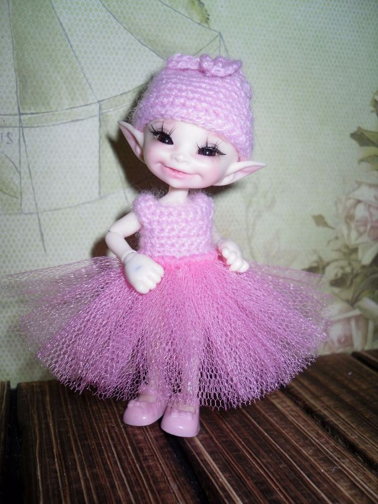 Crochet dress and hat for Realpuki doll BJD #Unbranded