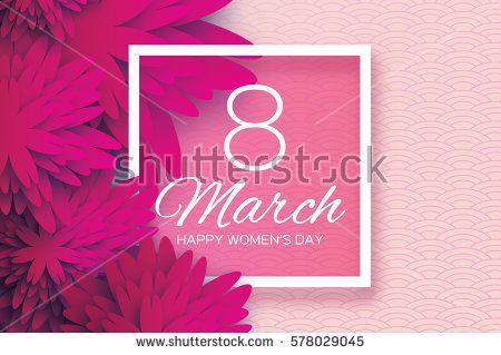 Magenta Pink Paper Cut цветок.  8 Марта.  День женщин Поздравительная открытка.  Оригами цветочный букет.  Площадь кадра.  Пространство для текста.  С днем матери.  Круг фон.  Вектор весной иллюстрации