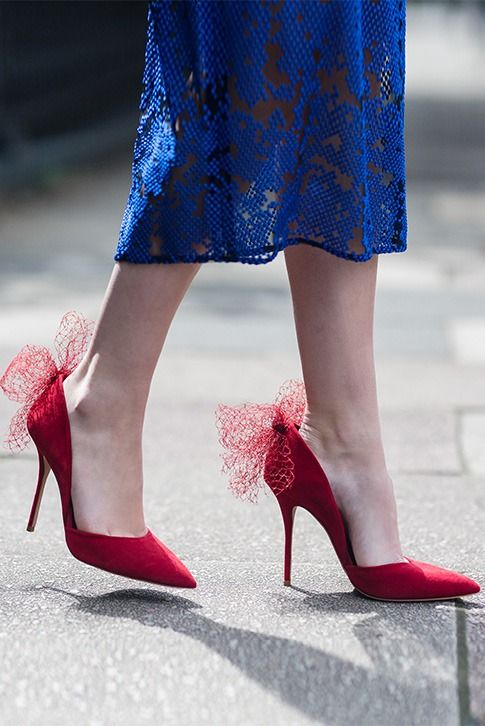 Streamlined, chic and statement making, Sadie by Kurt Geiger London is a full d'Orsay court with versatile red uppers, a skinny 105mm stiletto heel and creative netted embellishment at the crest for occasion-ready style.