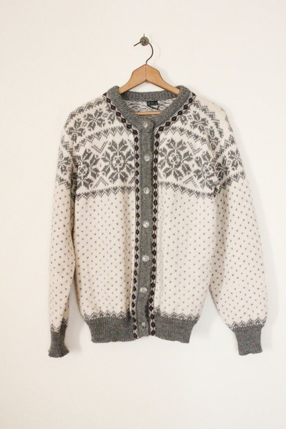 Vintage 70's Grey and Cream Nordic Sweater