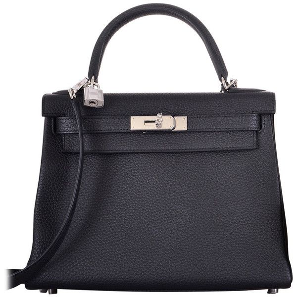 HERMES KELLY BAG 28cm BLACK TOGO PALLADIUM HARDWARE