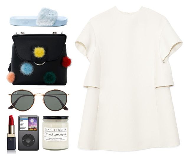 """""""6.108"""" by katrinattack ❤ liked on Polyvore featuring Puma, Valentino, Fendi, Ray-Ban, Craft + Foster, Clé de Peau Beauté, runningerrands and polyvorefashion"""