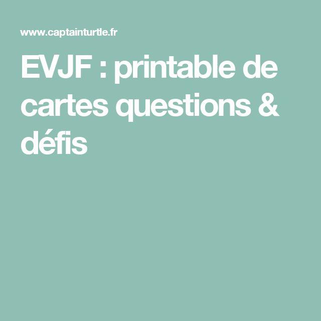 EVJF : printable de cartes questions & défis