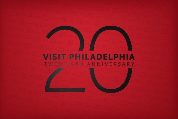 Logo for VISIT PHILADELPHIA's 20th anniversary