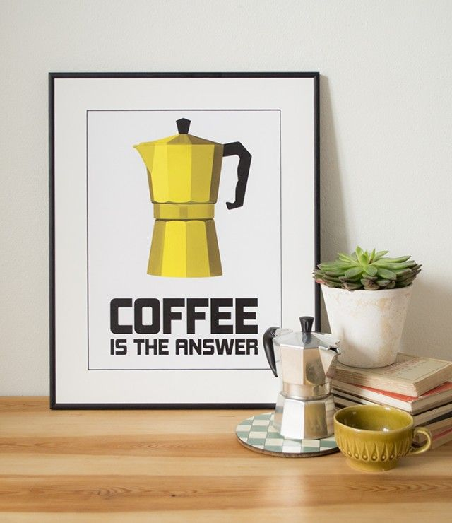Coffee is the answer, word! Poster by Lina Johansson. #nordicdesigncollective #yellow #trend #trendcolor #trendcolour #easteryellow #easter #poster #print #coffee #coffeecup #plant #pottedplant #book #books #fika #interiordesign #swedishdesign #nordicdesign #coffeebrewer #dropcoffee #art #wallart #frame #framed