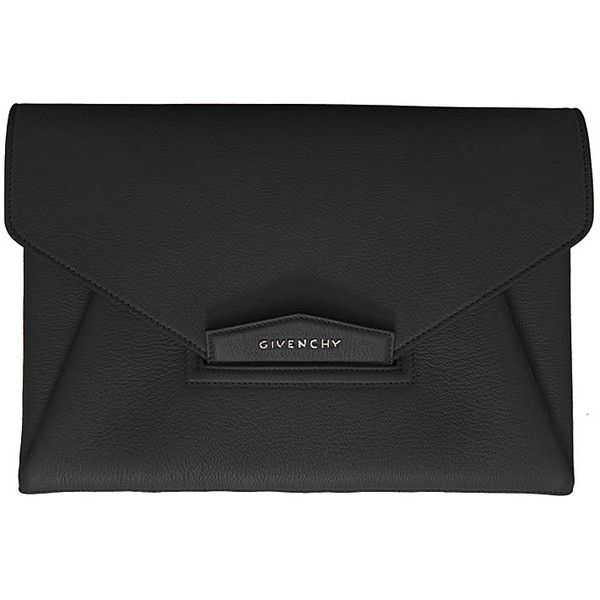 Givenchy Clutch Envelope Antigona found on Polyvore featuring bags, handbags, clutches, bolsos, black, givenchy handbags, real leather handbags, black clutches, genuine leather purse and black leather clutches