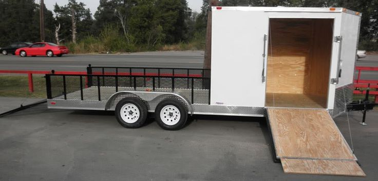 Enclosed Utility Hybrid Trailer 7'x20' - Lawn Mower Equipment Hauler