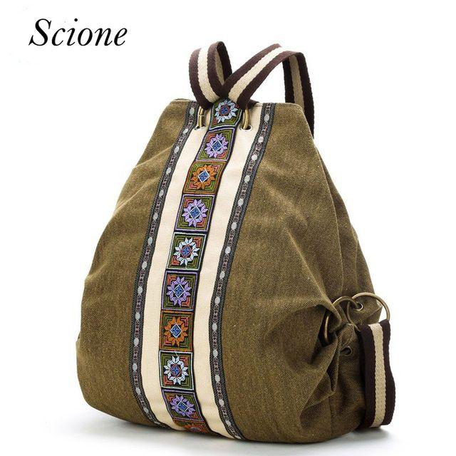 Big Deals $21.64, Buy Canvas National Tribal Ethnic Embroidered Floral Backpacks Women's Travel Rucksack Mochila School Shoulder bag Sac a Femme Li243