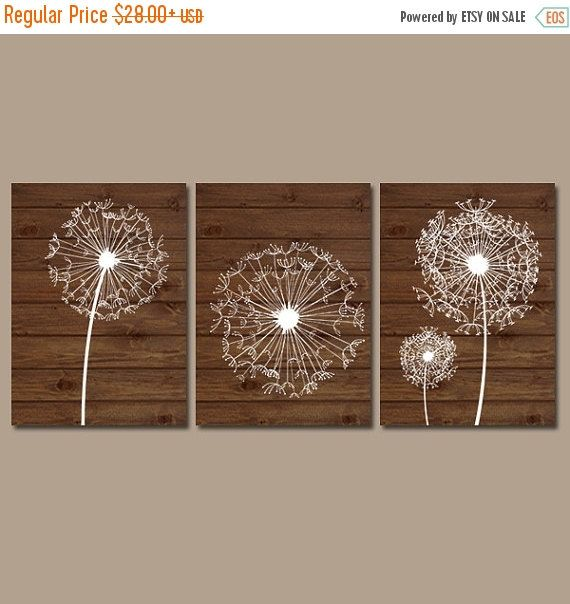 DANDELION Wall Art, Dandelion Wood Art, Bedroom Pictures, Bathroom Decor, Nursery Art, Flower Wall Art, Set of 3, Canvas or Prints Pictures