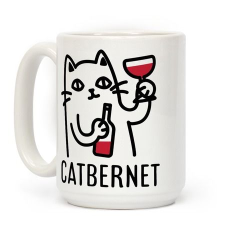 Show your love of cats and wine with this funny pun mug. This coffee mug features an illustration of a cat sipping down some Cabernet.