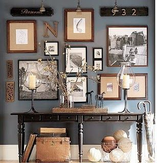 pottery barn: Interior, Idea, Wall Color, Living Room, Gallerywall, Gallery Wall